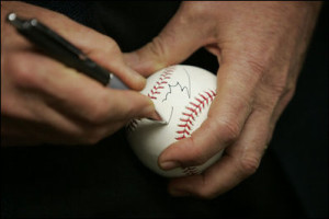 George W Bush signed baseball