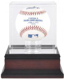 mahogany baseball display case